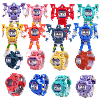 Deformation Robot Watch Children Electronic Wristwatch Robots Transformation Creative Cartoon Figures Toys Kids Gift